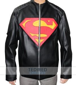 Black Superman Man of Steel Leather Jacket