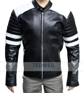 Brad Pitt Fight Club Motorcycle Leather Jacket Black and White