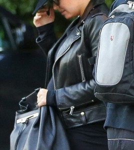 Lara Bingle arrives at a Hollywood leather Jacket