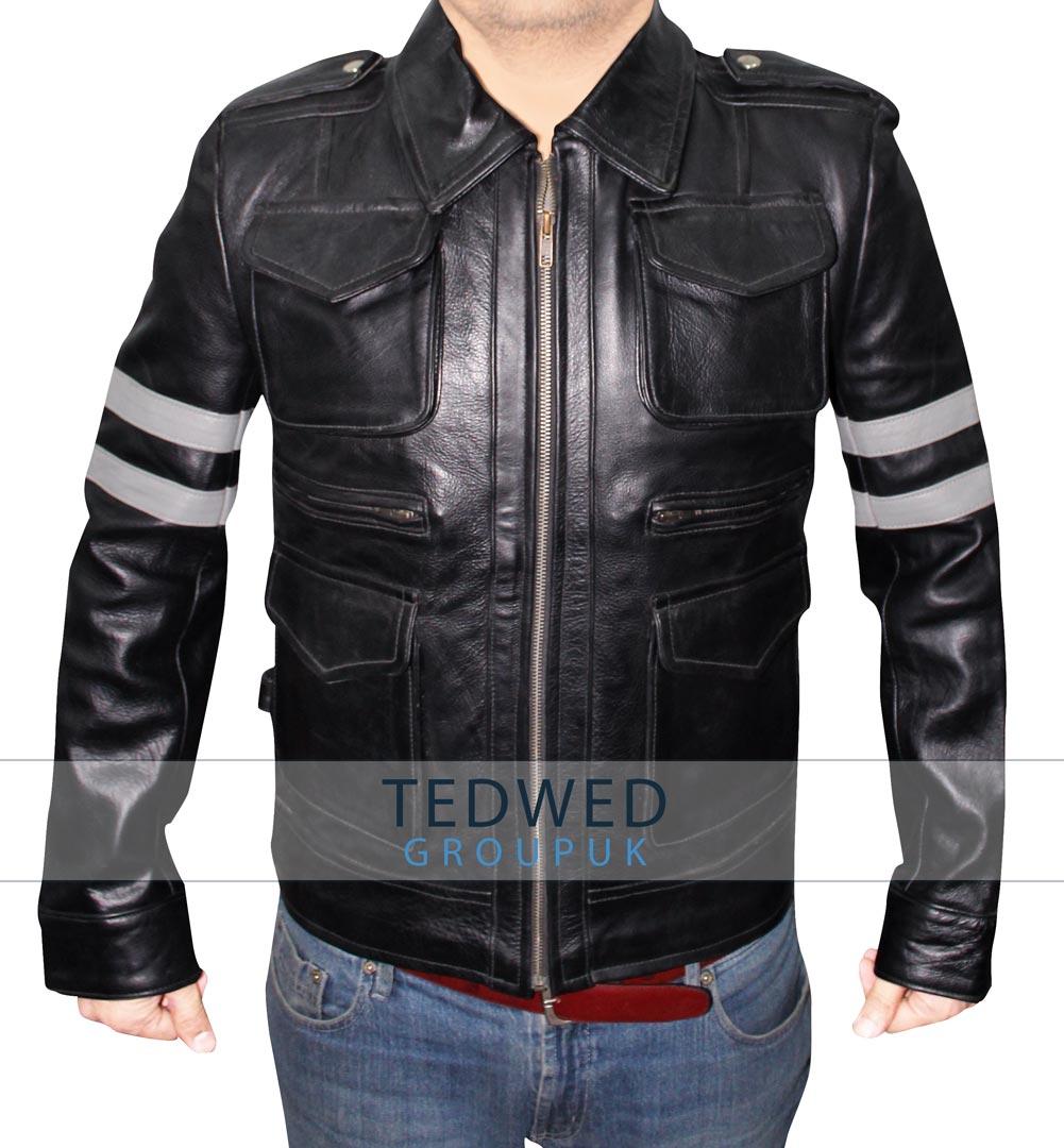 Black Leather Leon Kennedy Jacket