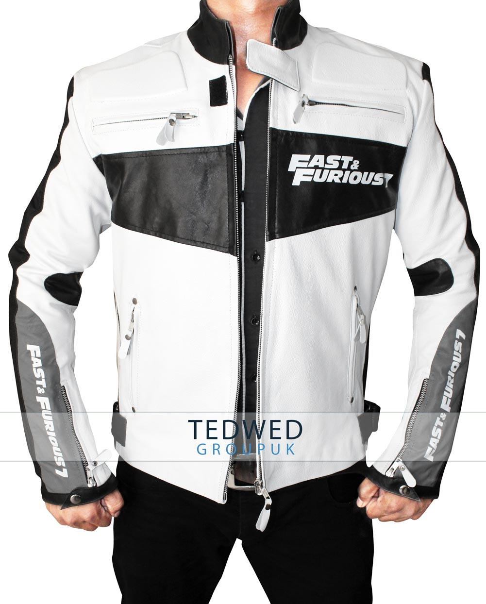 Fast And Furious 7 Premiere_Vin_Diesel Black and White Jacket