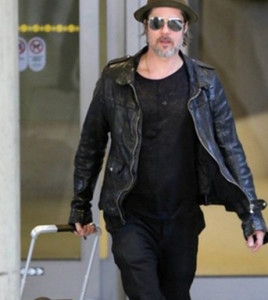 Brad Pitt LAX Airport Leather Jacket