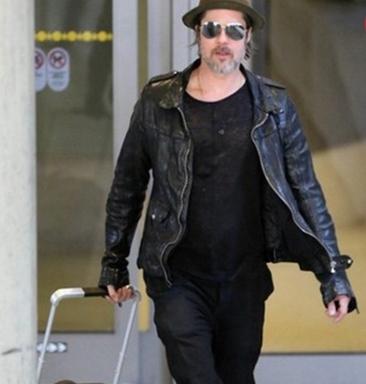 Brad Pitt LAX Airport Leather Jacket