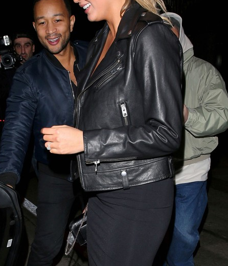 Chrissy Teigen leather tedwed Jacket