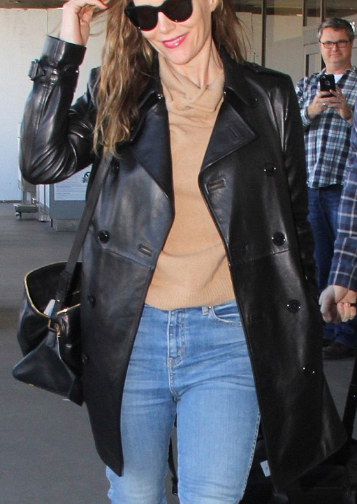 Leslie Mann she touches down in_LA_with husband Judd Apatow Jacket
