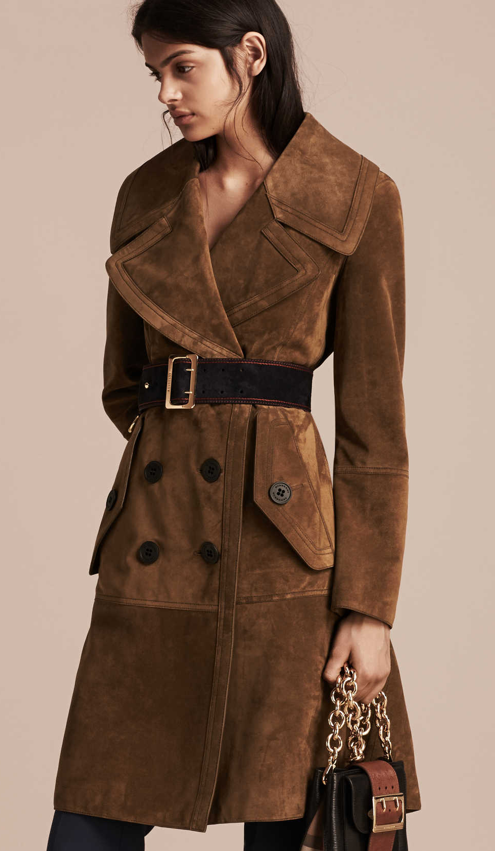 Burberry Double Breasted Suede Coat