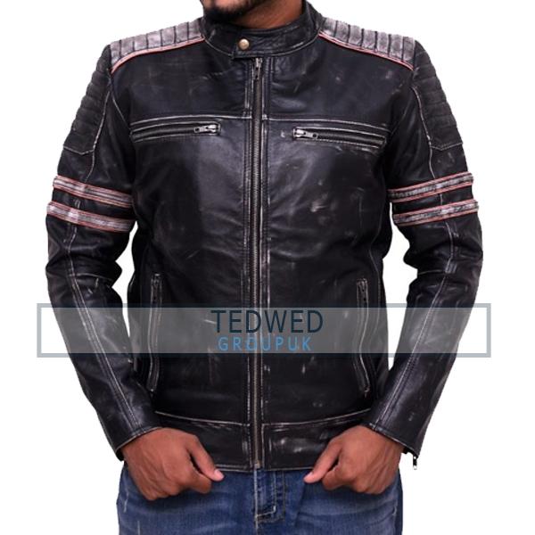 Men Cafe Racer Vintage Motorcycle Leather Jacket
