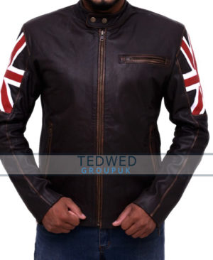 Vintage Motorcycle Cafe Racer Leather Jacket UK Flag